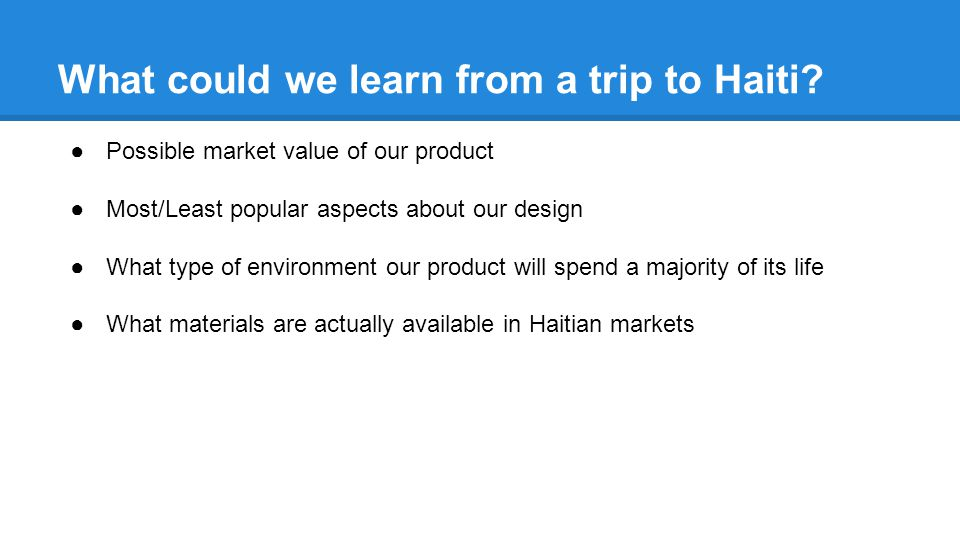 What could we learn from a trip to Haiti.