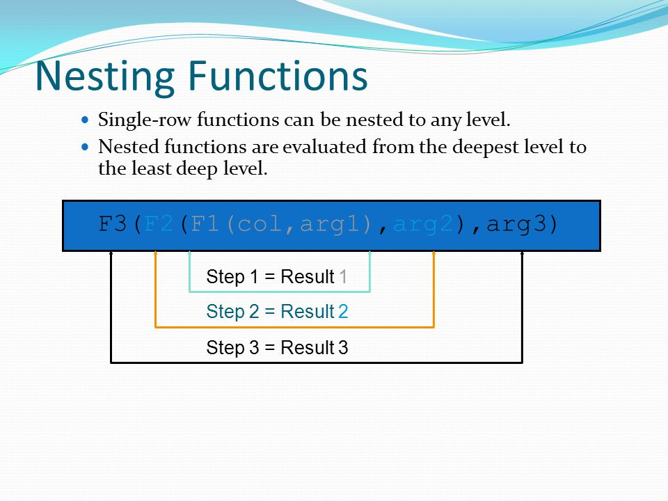 Nesting Functions Single-row functions can be nested to any level.