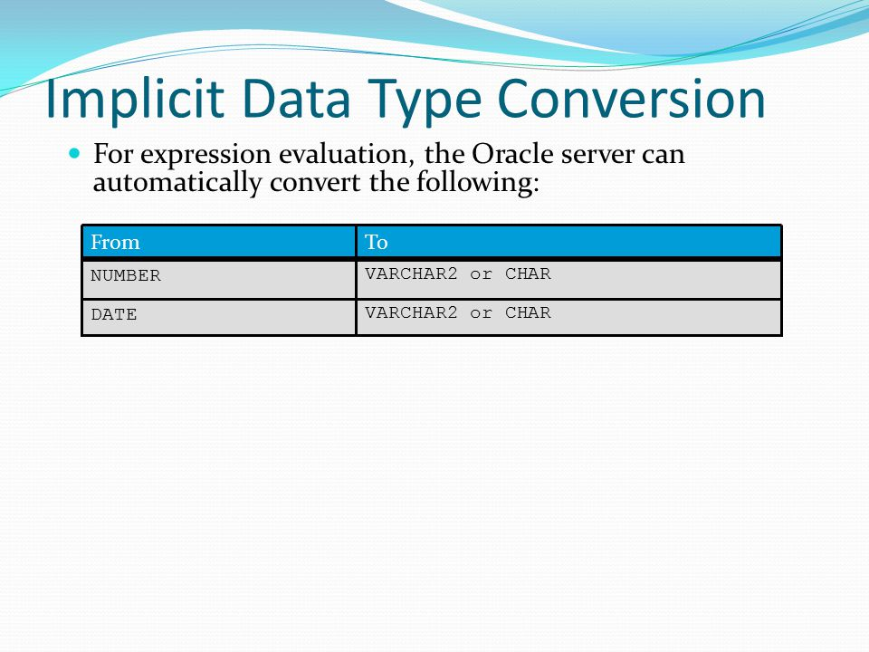 Implicit Data Type Conversion For expression evaluation, the Oracle server can automatically convert the following: VARCHAR2 or CHAR NUMBER VARCHAR2 or CHAR DATE ToFrom