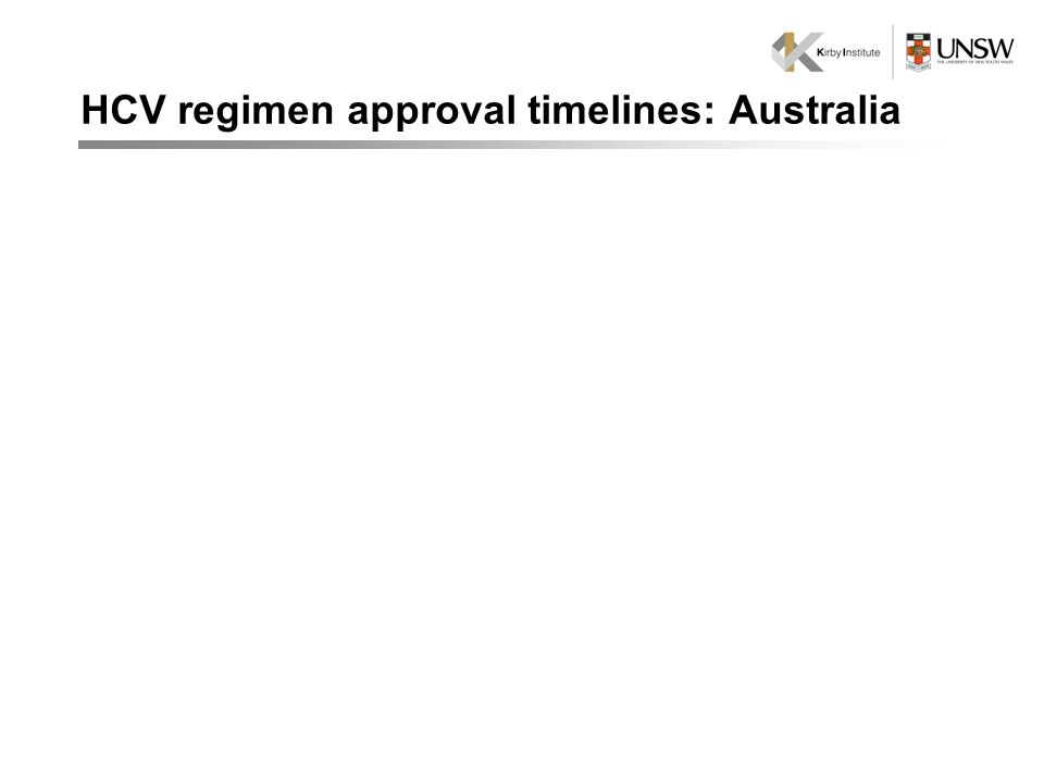 HCV regimen approval timelines: Australia