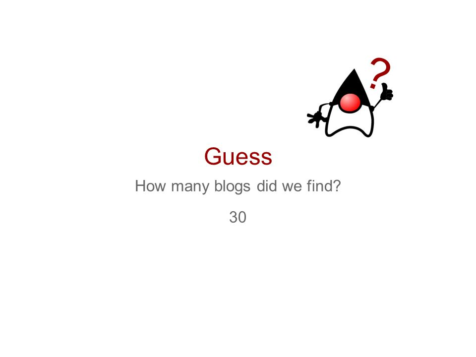 Guess How many blogs did we find? 30 ?