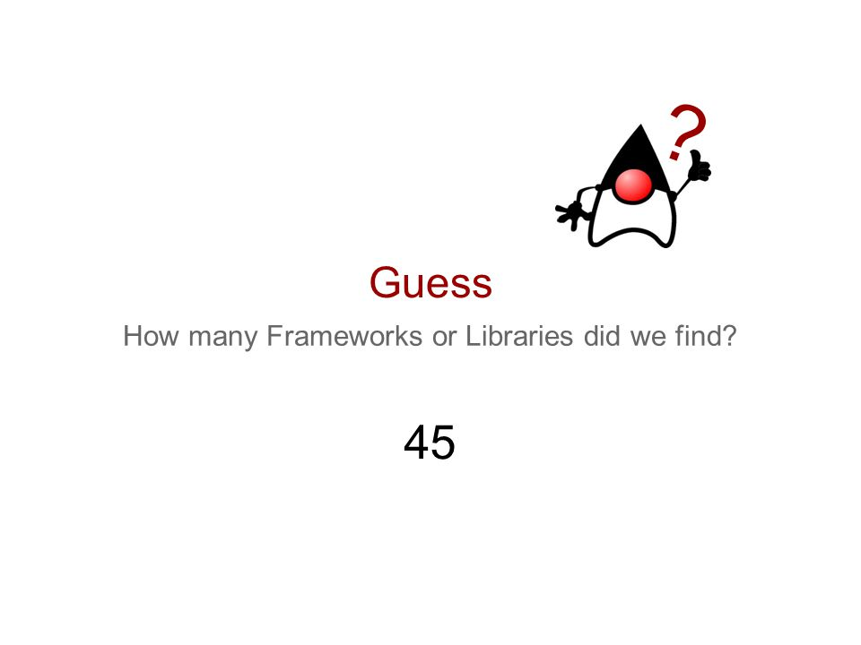 Guess How many Frameworks or Libraries did we find? ? 45