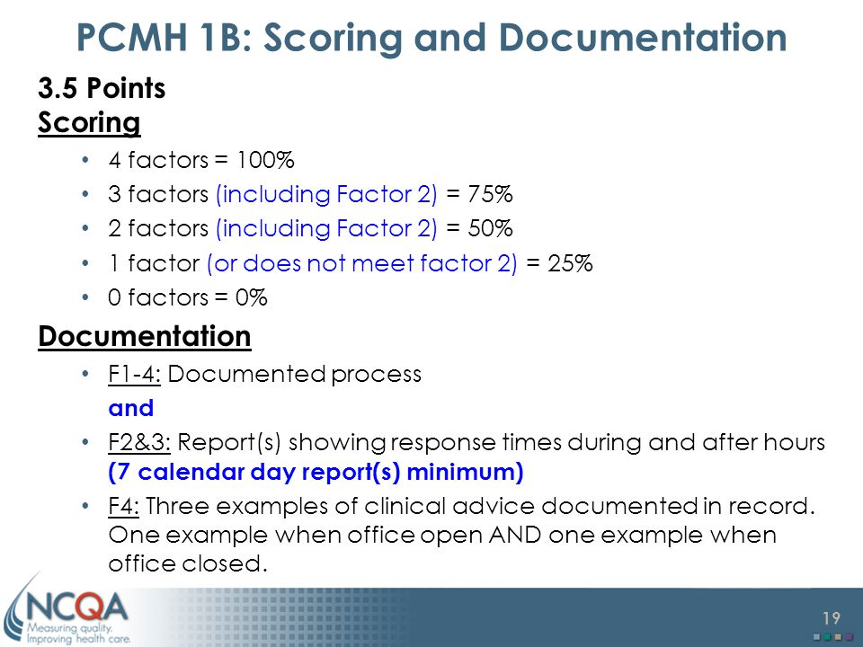 19 PCMH 1B: Scoring and Documentation 3.5 Points Scoring 4 factors = 100% 3 factors (including Factor 2) = 75% 2 factors (including Factor 2) = 50% 1 factor (or does not meet factor 2) = 25% 0 factors = 0% Documentation F1-4: Documented process and F2&3: Report(s) showing response times during and after hours (7 calendar day report(s) minimum) F4: Three examples of clinical advice documented in record.