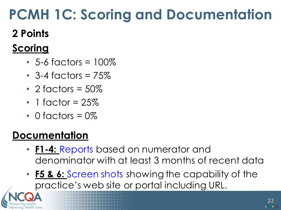 23 PCMH 1C: Scoring and Documentation 2 Points Scoring 5-6 factors = 100% 3-4 factors = 75% 2 factors = 50% 1 factor = 25% 0 factors = 0% Documentation F1-4: Reports based on numerator and denominator with at least 3 months of recent data F5 & 6: Screen shots showing the capability of the practice's web site or portal including URL.