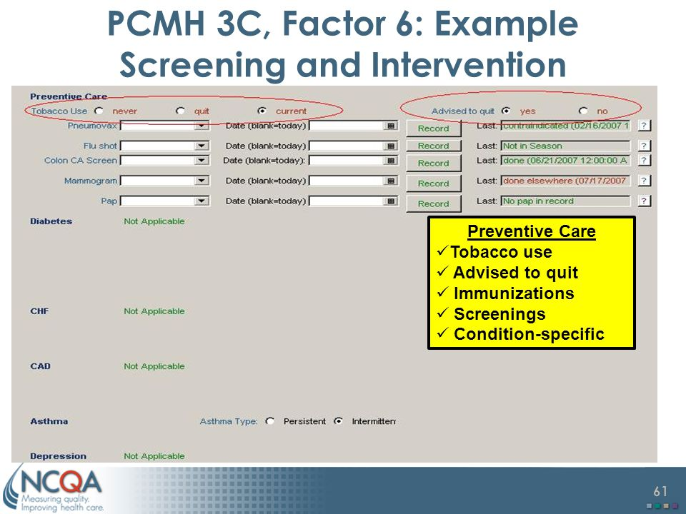 61 PCMH 3C, Factor 6: Example Screening and Intervention Preventive Care Tobacco use Advised to quit Immunizations Screenings Condition-specific