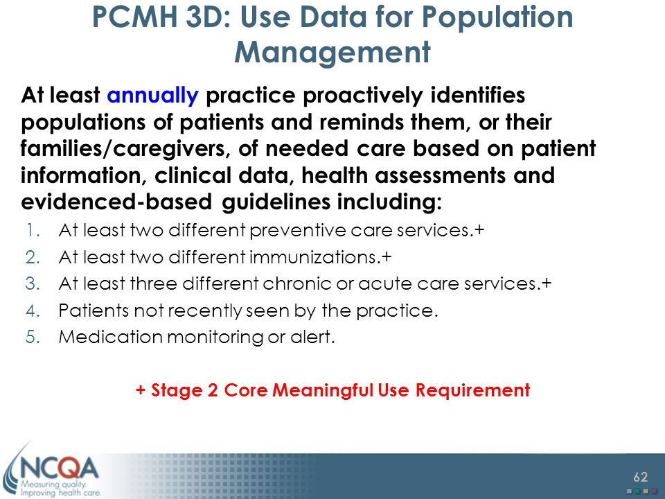 62 PCMH 3D: Use Data for Population Management At least annually practice proactively identifies populations of patients and reminds them, or their families/caregivers, of needed care based on patient information, clinical data, health assessments and evidenced-based guidelines including: 1.At least two different preventive care services.+ 2.At least two different immunizations.+ 3.At least three different chronic or acute care services.+ 4.Patients not recently seen by the practice.