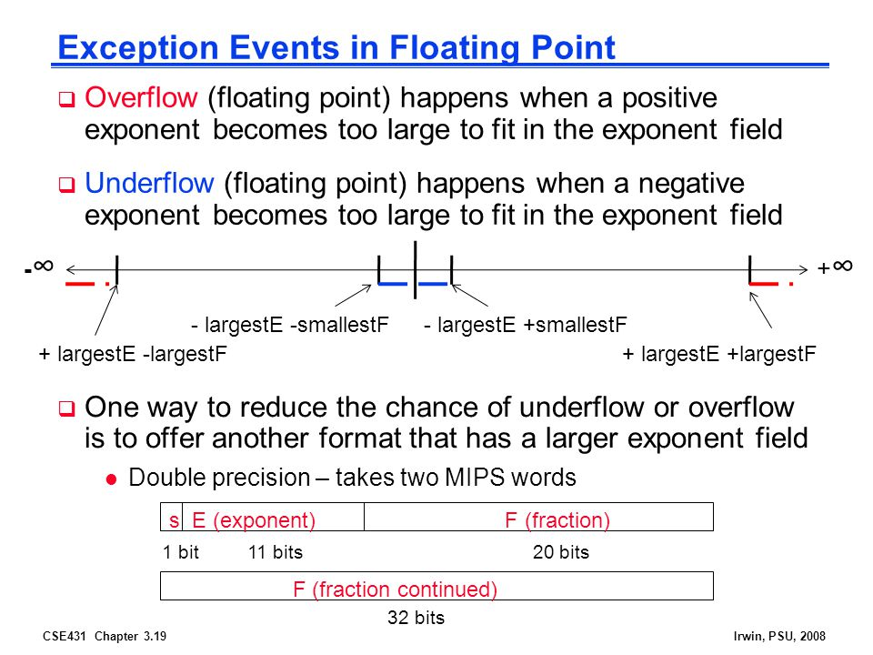 CSE431 Chapter 3.19Irwin, PSU, 2008 Exception Events in Floating Point  Overflow (floating point) happens when a positive exponent becomes too large to fit in the exponent field  Underflow (floating point) happens when a negative exponent becomes too large to fit in the exponent field s E (exponent) F (fraction) 1 bit 11 bits 20 bits F (fraction continued) 32 bits  One way to reduce the chance of underflow or overflow is to offer another format that has a larger exponent field l Double precision – takes two MIPS words +∞+∞ -∞-∞ + largestE +largestF+ largestE -largestF - largestE +smallestF- largestE -smallestF