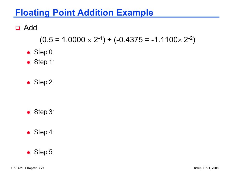 CSE431 Chapter 3.25Irwin, PSU, 2008 Floating Point Addition Example  Add (0.5 = 1.0000  2 -1 ) + (-0.4375 = -1.1100  2 -2 ) l Step 0: l Step 1: l Step 2: l Step 3: l Step 4: l Step 5: