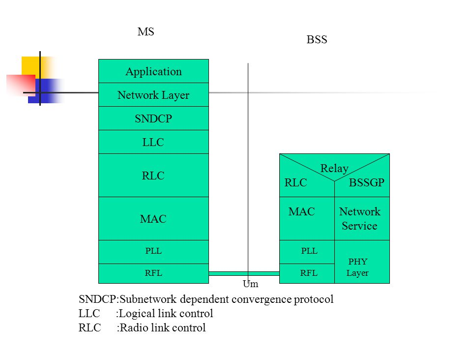 PLL RFL RLC MAC LLC SNDCP Network Layer Application PLL PHY RFL Layer MAC Network Service Relay RLC BSSGP MS BSS SNDCP:Subnetwork dependent convergenc