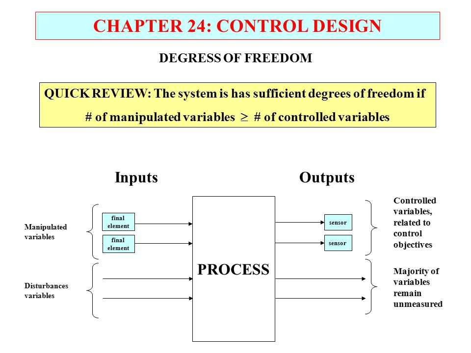 CHAPTER 24: CONTROL DESIGN PROCESS InputsOutputs final element sensor final element sensor Manipulated variables Disturbances variables Controlled variables, related to control objectives Majority of variables remain unmeasured DEGRESS OF FREEDOM QUICK REVIEW: The system is has sufficient degrees of freedom if # of manipulated variables  # of controlled variables