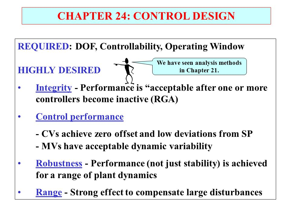 "CHAPTER 24: CONTROL DESIGN REQUIRED: DOF, Controllability, Operating Window HIGHLY DESIRED Integrity - Performance is ""acceptable after one or more co"