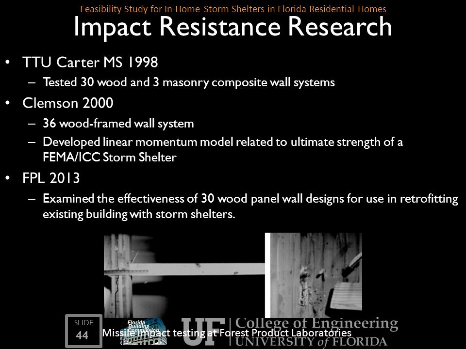 SLIDE 44 Feasibility Study for In-Home Storm Shelters in Florida Residential Homes Impact Resistance Research TTU Carter MS 1998 – Tested 30 wood and
