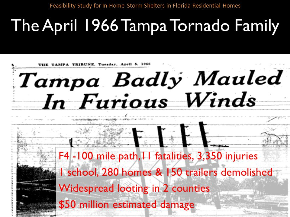 SLIDE 8 Feasibility Study for In-Home Storm Shelters in Florida Residential Homes The April 1966 Tampa Tornado Family F4 -100 mile path,11 fatalities,