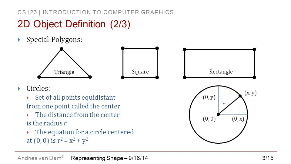 CS123   INTRODUCTION TO COMPUTER GRAPHICS Andries van Dam © 14/15  Vertex and face tables, analogous to 2D vertex and edge tables  Each vertex listed once, triangles listed as ordered triplets of indices into the vertex table  Edges inferred from triangles  It's often useful to store associated faces with vertices (i.e.