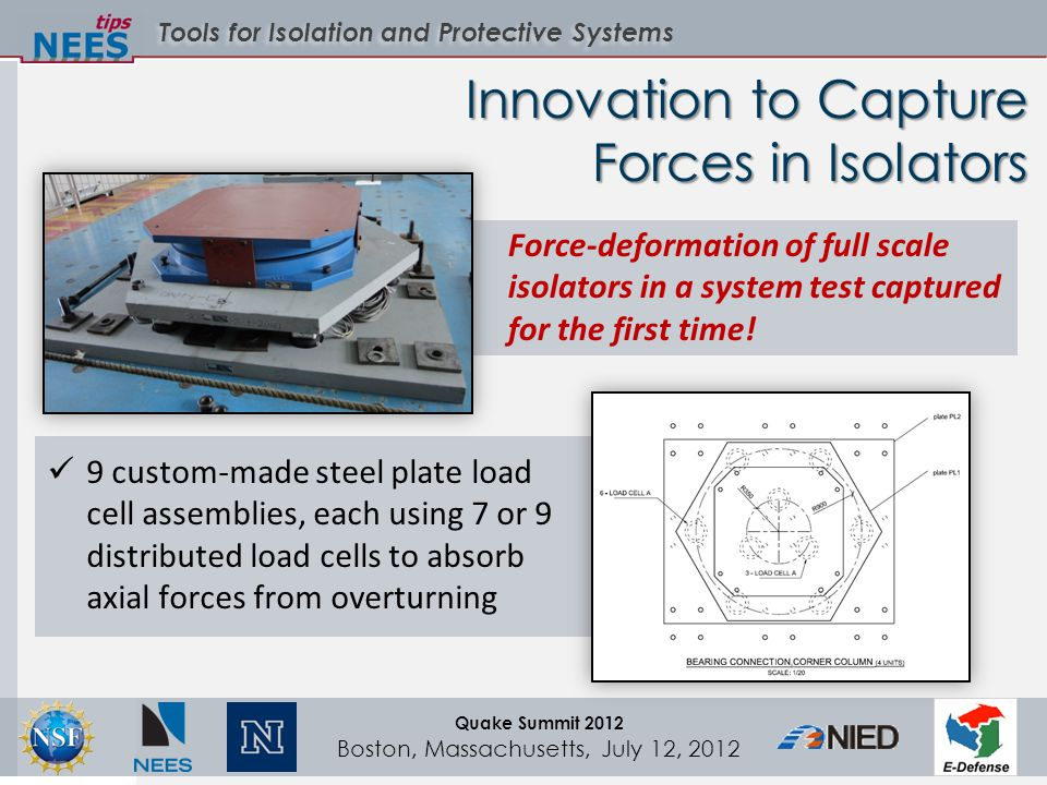 Tools for Isolation and Protective Systems Quake Summit 2012 Boston, Massachusetts, July 12, 2012 Innovation to Capture Forces in Isolators Force-deformation of full scale isolators in a system test captured for the first time.