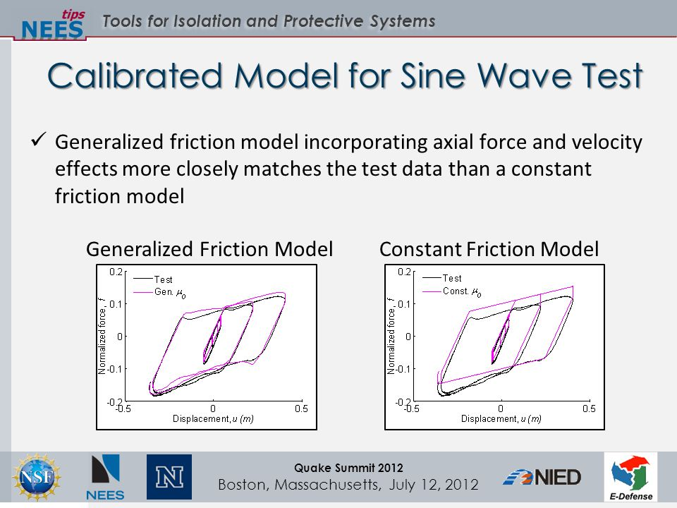 Tools for Isolation and Protective Systems Quake Summit 2012 Boston, Massachusetts, July 12, 2012 Calibrated Model for Sine Wave Test Generalized friction model incorporating axial force and velocity effects more closely matches the test data than a constant friction model Constant Friction ModelGeneralized Friction Model
