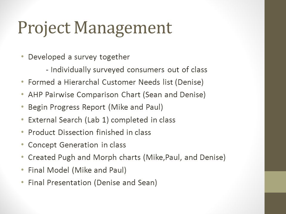 Project Management Developed a survey together - Individually surveyed consumers out of class Formed a Hierarchal Customer Needs list (Denise) AHP Pai