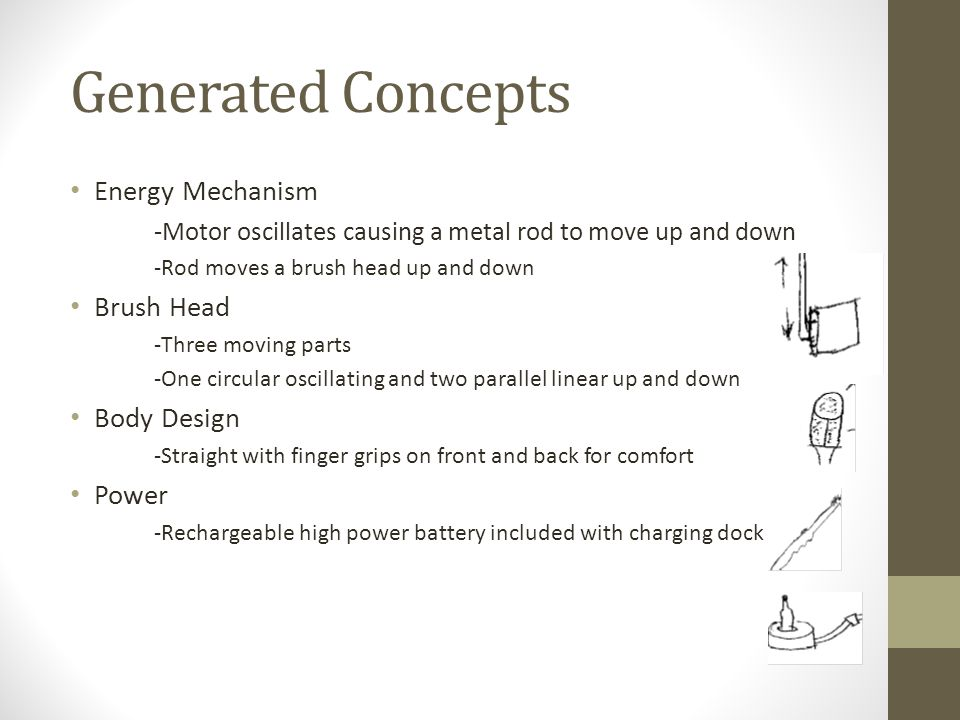 Concept Selection Developed 5 Pugh Charts for each of the following 4 Concepts from the Morph Chart Energy Mechanism Brush Head Body Form Design Power Sample Pugh Chart -Picked the Highest Ranked Concepts Energy Mechanism Concept 4 Durability Affordabil ity Performa nce Eco- Friendline ssTotalRank Weights0.26 0.220.07 Concept 10100.043 Concept 200100.221 Concept 3000-0.225 Concept 4 04 Concept 50110.112