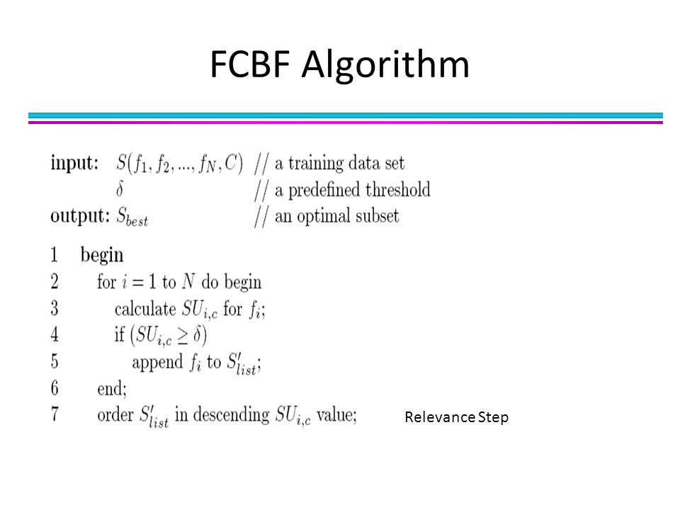 FCBF Algorithm Relevance Step
