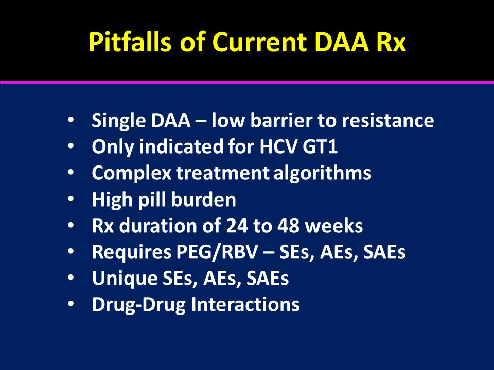 Pitfalls of Current DAA Rx Single DAA – low barrier to resistance Only indicated for HCV GT1 Complex treatment algorithms High pill burden Rx duration of 24 to 48 weeks Requires PEG/RBV – SEs, AEs, SAEs Unique SEs, AEs, SAEs Drug-Drug Interactions