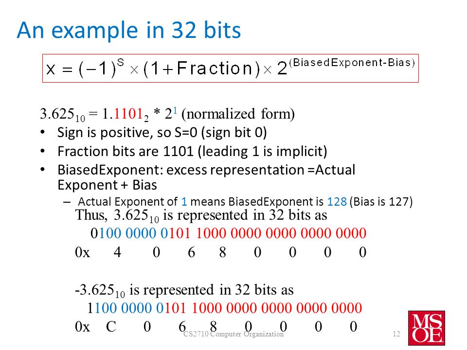 An example in 32 bits CS2710 Computer Organization12 3.625 10 = 1.1101 2 * 2 1 (normalized form) Sign is positive, so S=0 (sign bit 0) Fraction bits are 1101 (leading 1 is implicit) BiasedExponent: excess representation =Actual Exponent + Bias – Actual Exponent of 1 means BiasedExponent is 128 (Bias is 127) Thus, 3.625 10 is represented in 32 bits as 0100 0000 0101 1000 0000 0000 0000 0000 0x 4 0 6 8 0 0 0 0 -3.625 10 is represented in 32 bits as 1100 0000 0101 1000 0000 0000 0000 0000 0x C 0 6 8 0 0 0 0