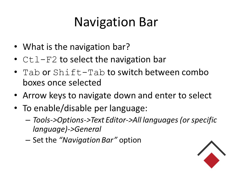 Navigation Bar What is the navigation bar.
