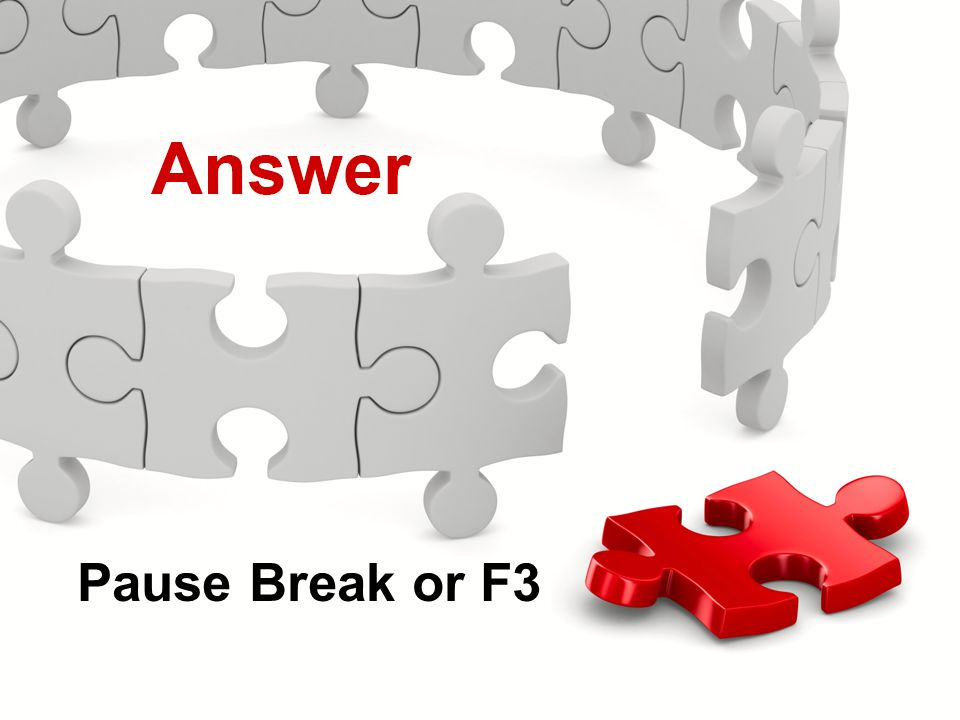 Actions Menu Knowledge Check Pause Break or F3