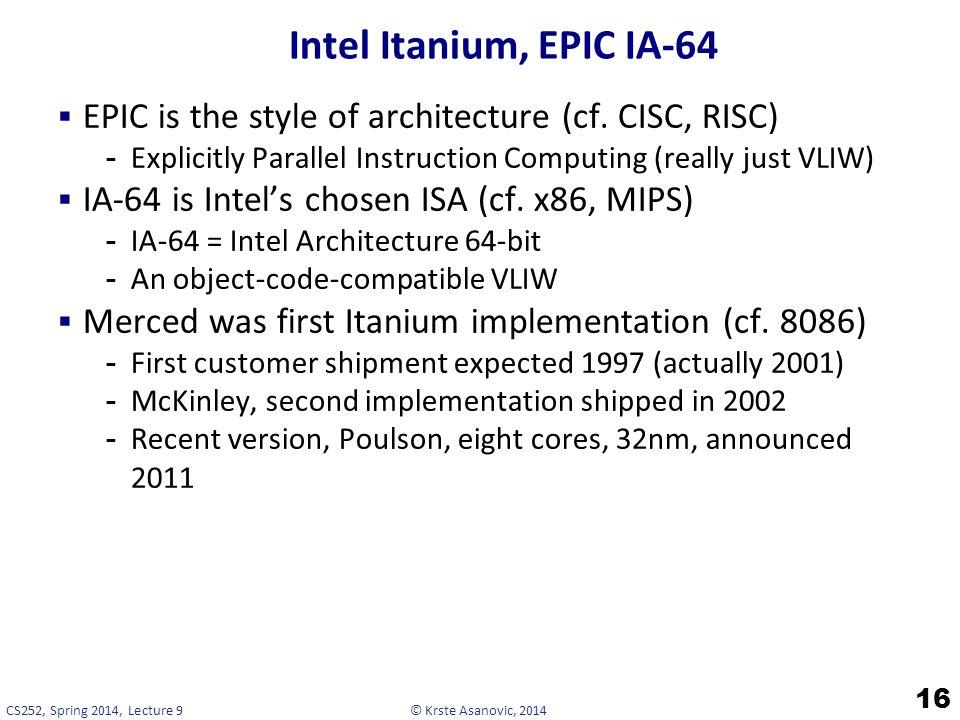 © Krste Asanovic, 2014CS252, Spring 2014, Lecture 9 Intel Itanium, EPIC IA-64  EPIC is the style of architecture (cf.
