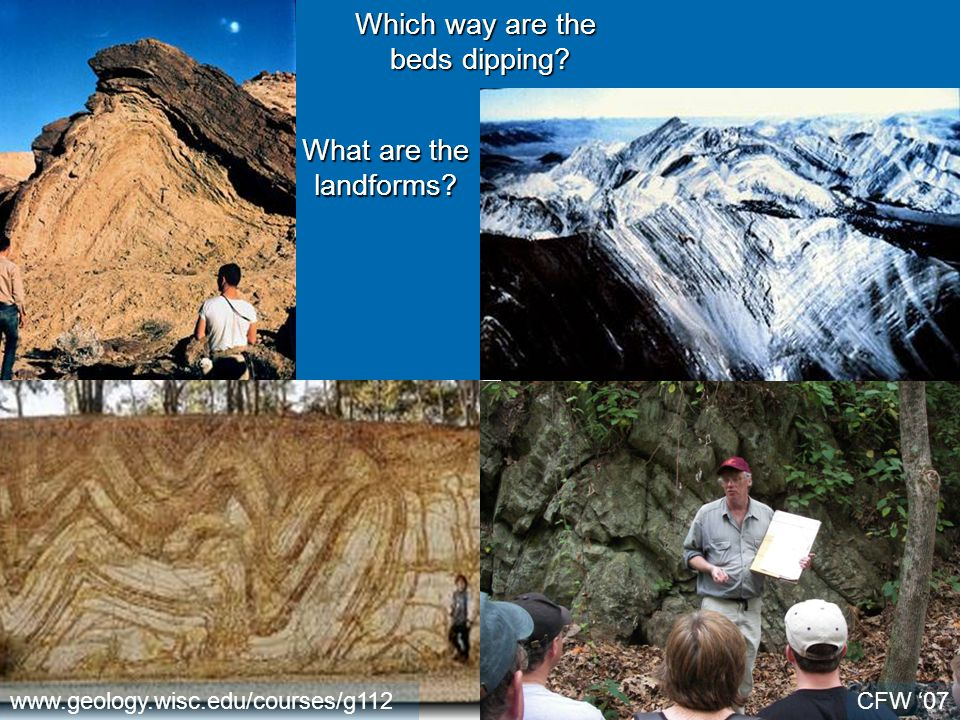 www.geology.wisc.edu/courses/g112 Which way are the beds dipping? What are the landforms? CFW '07