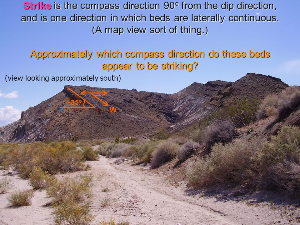 Strike is the compass direction 90 o from the dip direction, and is one direction in which beds are laterally continuous.