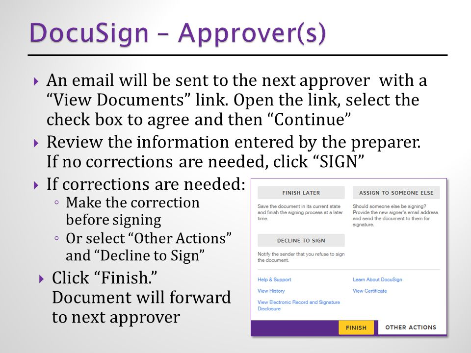  An email will be sent to the next approver with a View Documents link.