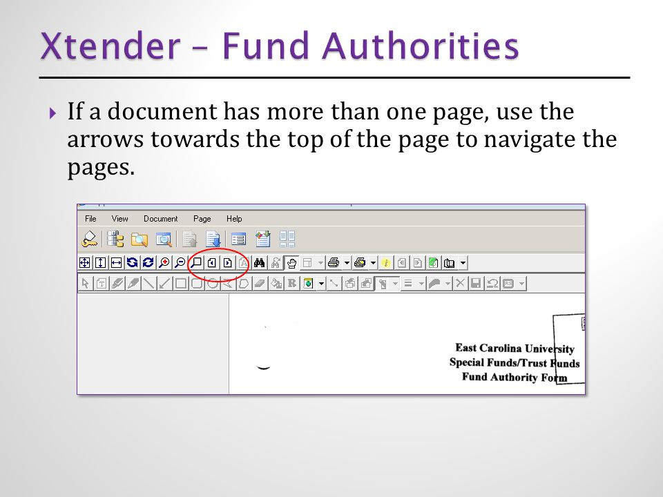  If a document has more than one page, use the arrows towards the top of the page to navigate the pages.