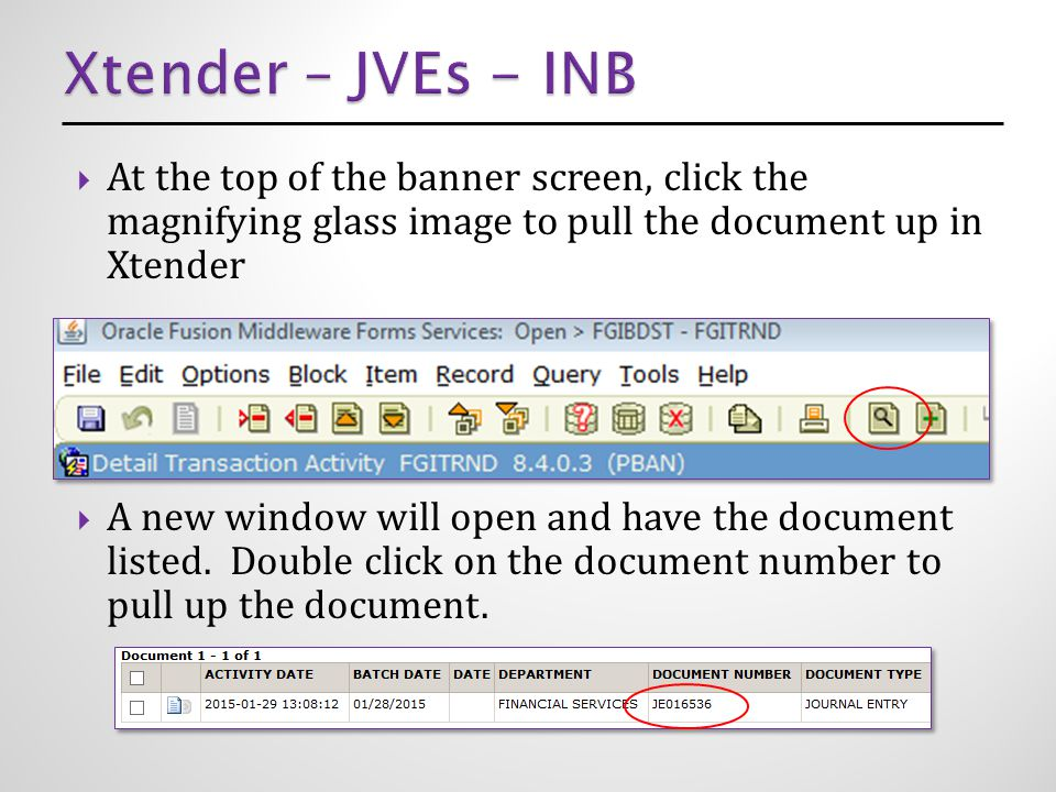  At the top of the banner screen, click the magnifying glass image to pull the document up in Xtender  A new window will open and have the document listed.
