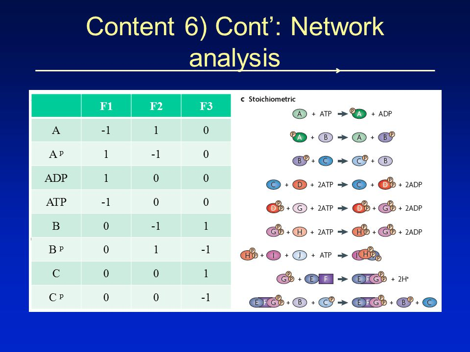 Content 6) Cont': Network analysis F1F2F3 A10 A p 10 ADP100 ATP00 B0 1 B p 01 C001 C p 00