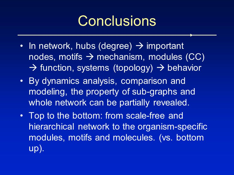 In network, hubs (degree)  important nodes, motifs  mechanism, modules (CC)  function, systems (topology)  behavior By dynamics analysis, comparis