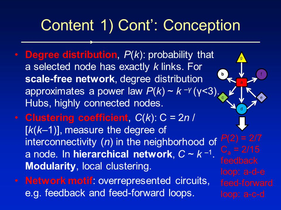Degree distribution, P(k): probability that a selected node has exactly k links. For scale-free network, degree distribution approximates a power law
