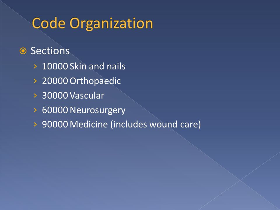  Sections › 10000 Skin and nails › 20000 Orthopaedic › 30000 Vascular › 60000 Neurosurgery › 90000 Medicine (includes wound care)