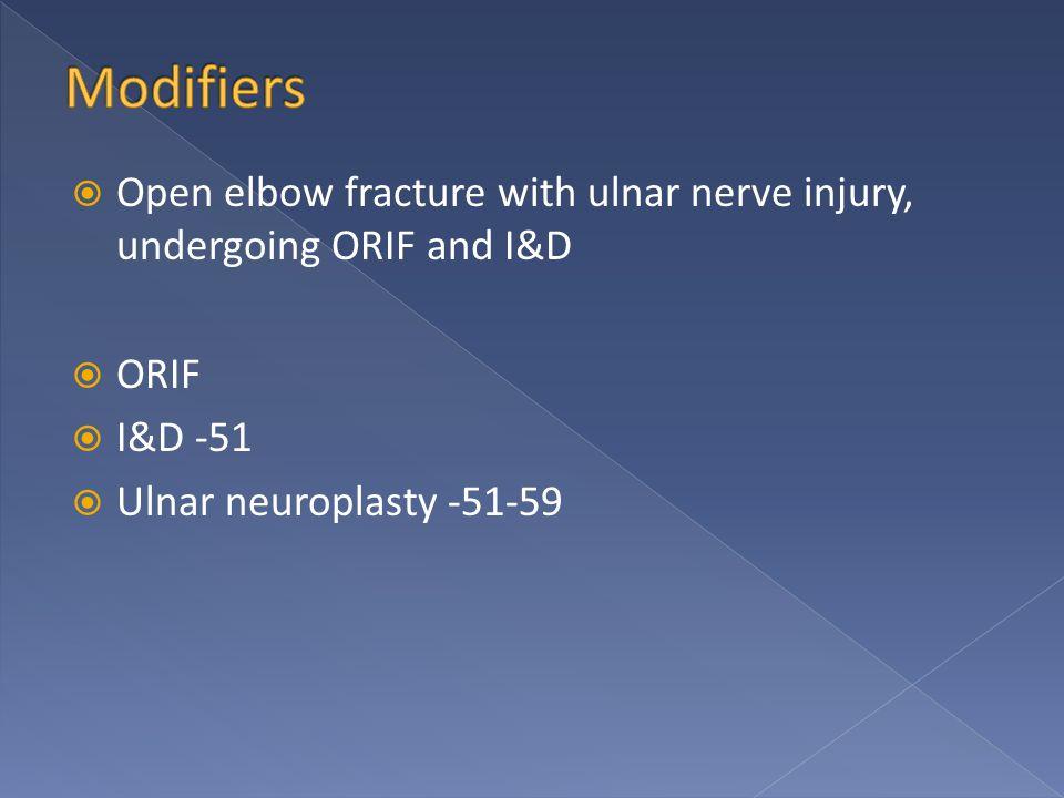 ORIF  I&D -51  Ulnar neuroplasty -51-59