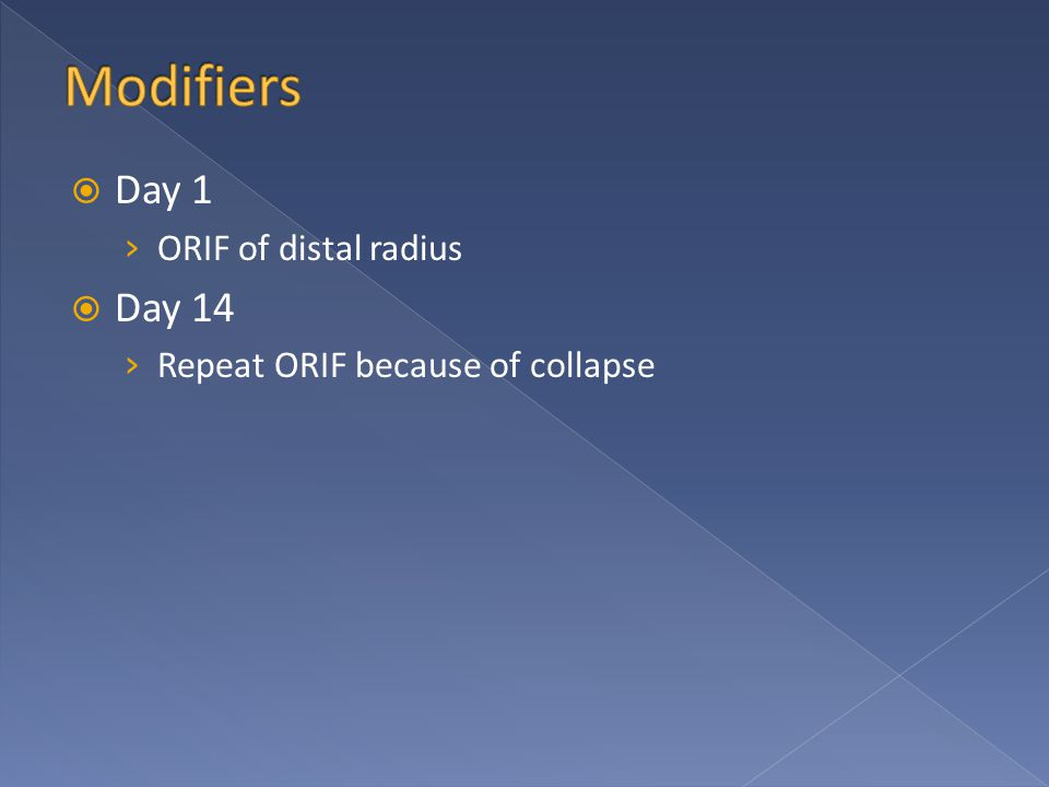  Day 1 › ORIF of distal radius  Day 14 › Repeat ORIF because of collapse