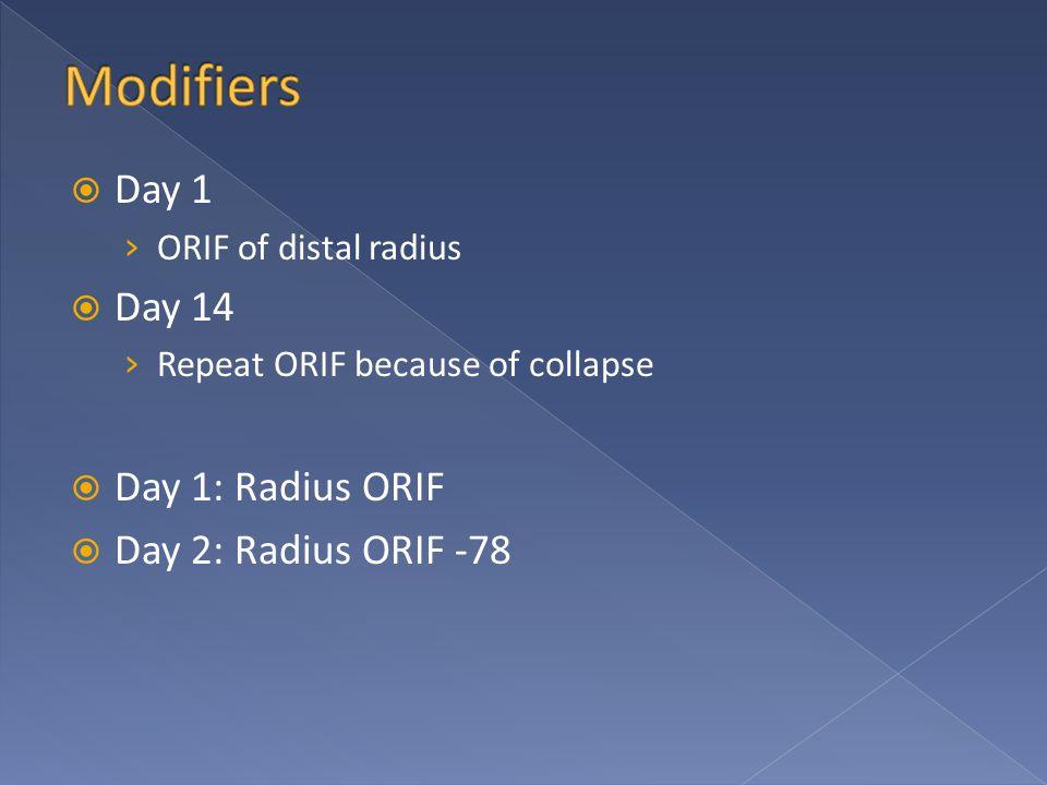  Day 1 › ORIF of distal radius  Day 14 › Repeat ORIF because of collapse  Day 1: Radius ORIF  Day 2: Radius ORIF -78