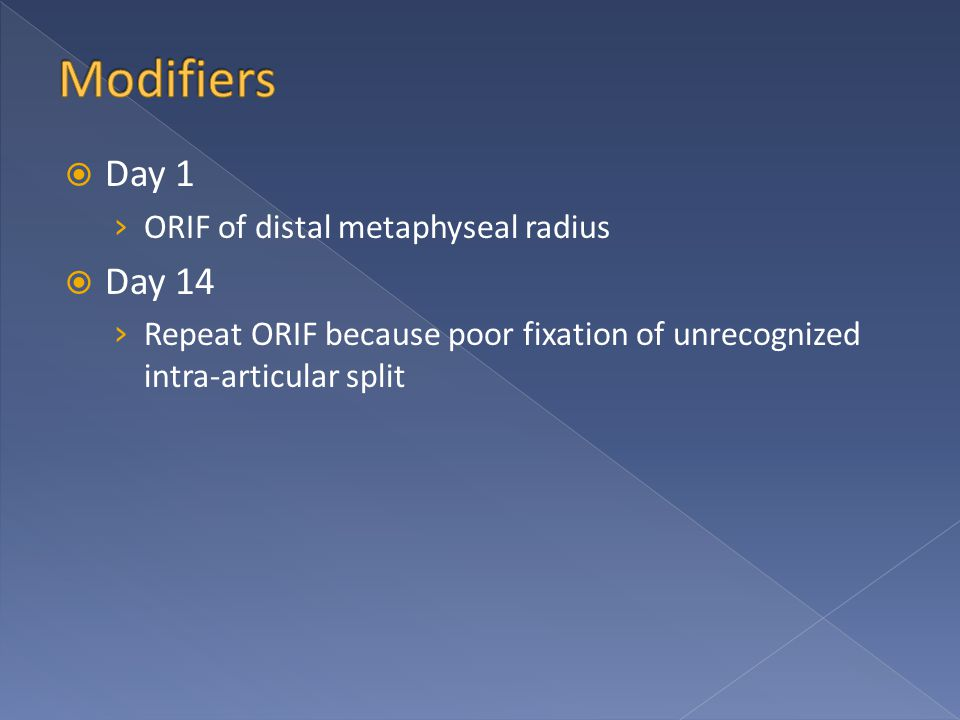  Day 1 › ORIF of distal metaphyseal radius  Day 14 › Repeat ORIF because poor fixation of unrecognized intra-articular split