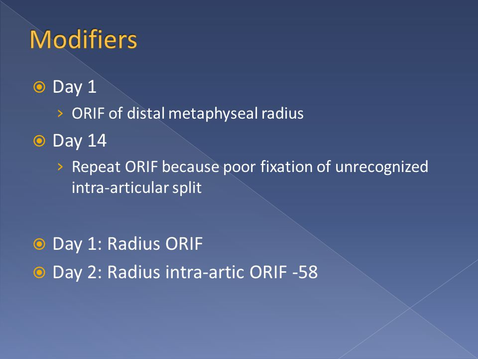 Day 1 › ORIF of distal metaphyseal radius  Day 14 › Repeat ORIF because poor fixation of unrecognized intra-articular split  Day 1: Radius ORIF  Day 2: Radius intra-artic ORIF -58