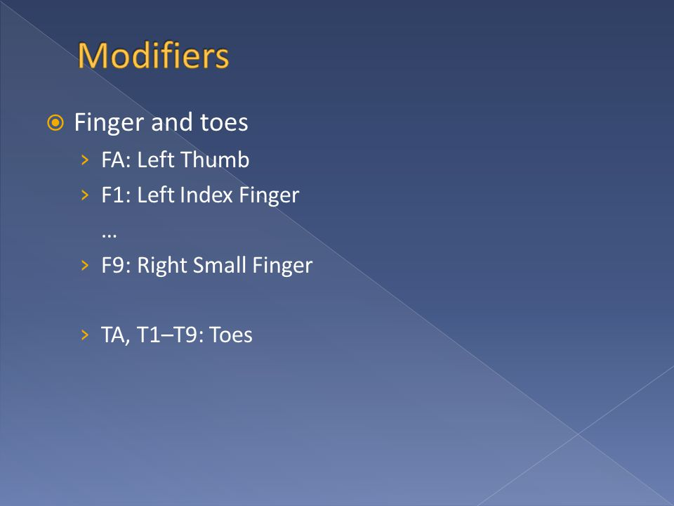  Finger and toes › FA: Left Thumb › F1: Left Index Finger … › F9: Right Small Finger › TA, T1–T9: Toes