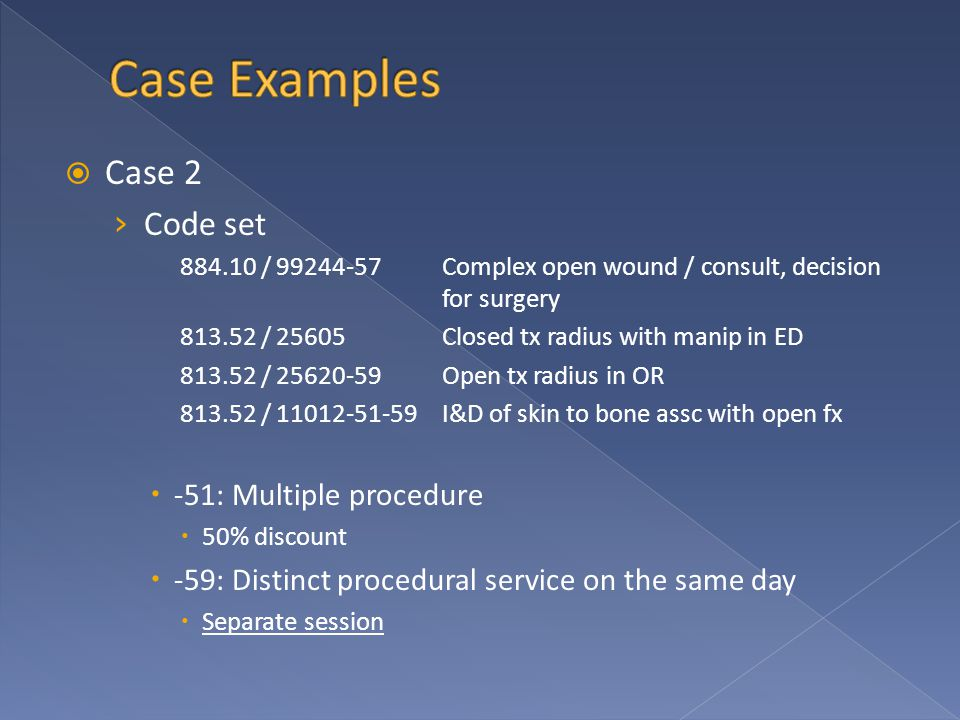  Case 2 › Code set 884.10 / 99244-57Complex open wound / consult, decision for surgery 813.52 / 25605Closed tx radius with manip in ED 813.52 / 25620-59Open tx radius in OR 813.52 / 11012-51-59I&D of skin to bone assc with open fx  -51: Multiple procedure  50% discount  -59: Distinct procedural service on the same day  Separate session