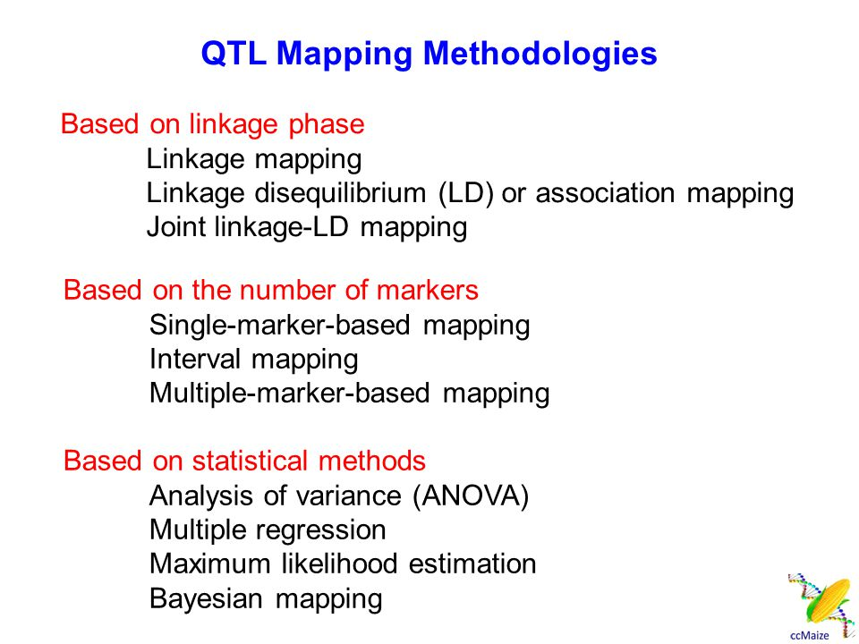 Based on linkage phase Linkage mapping Linkage disequilibrium (LD) or association mapping Joint linkage-LD mapping Based on the number of markers Sing