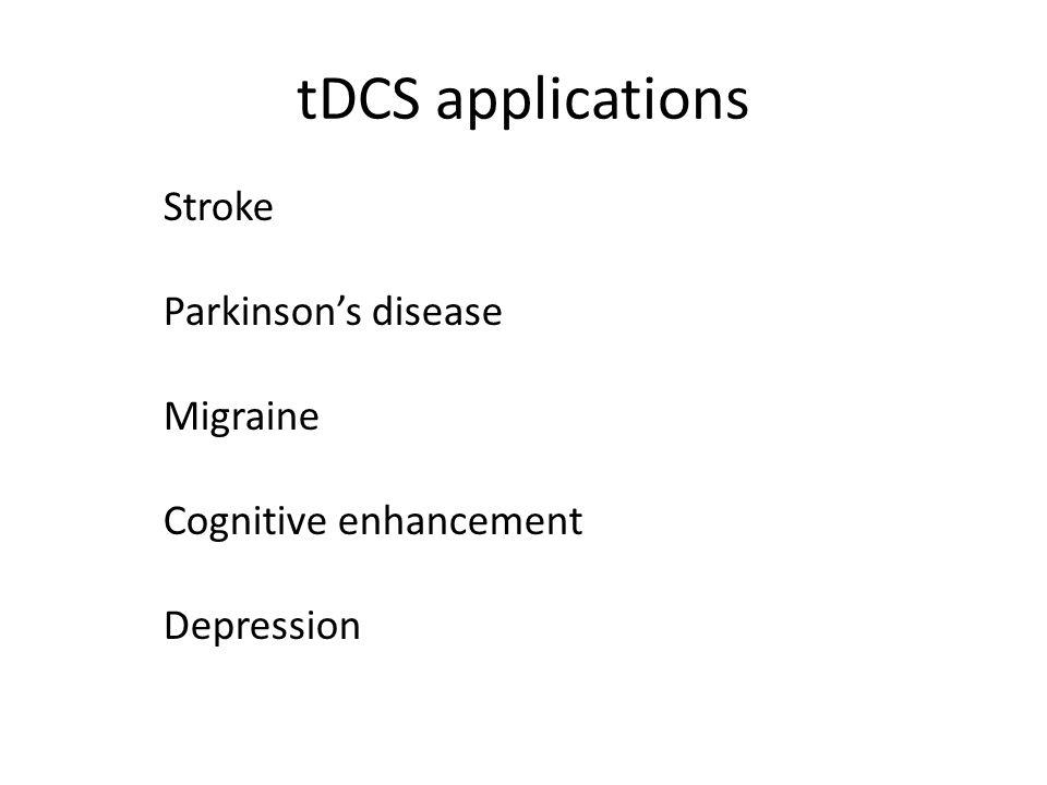 tDCS applications Stroke Parkinson's disease Migraine Cognitive enhancement Depression