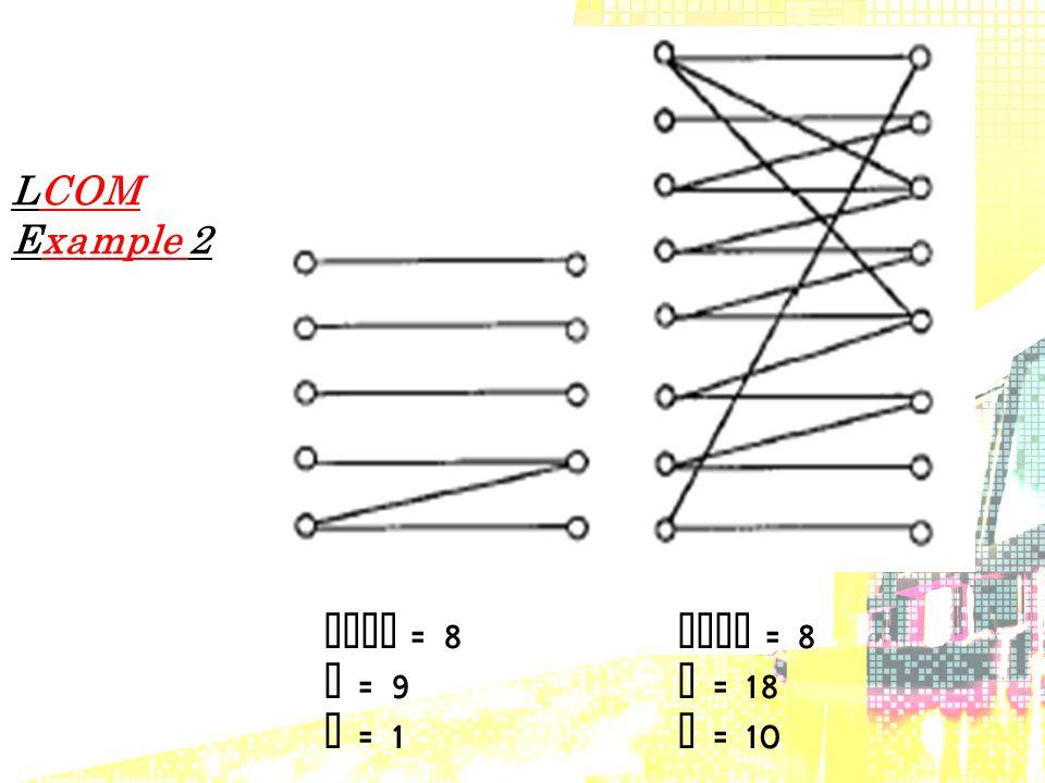 LCOM Example 2 LCOM = 8 P = 9 P = 18 Q = 1 Q = 10