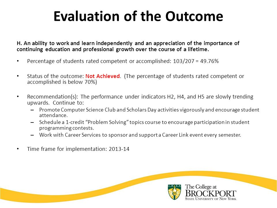 Evaluation of the Outcome H.