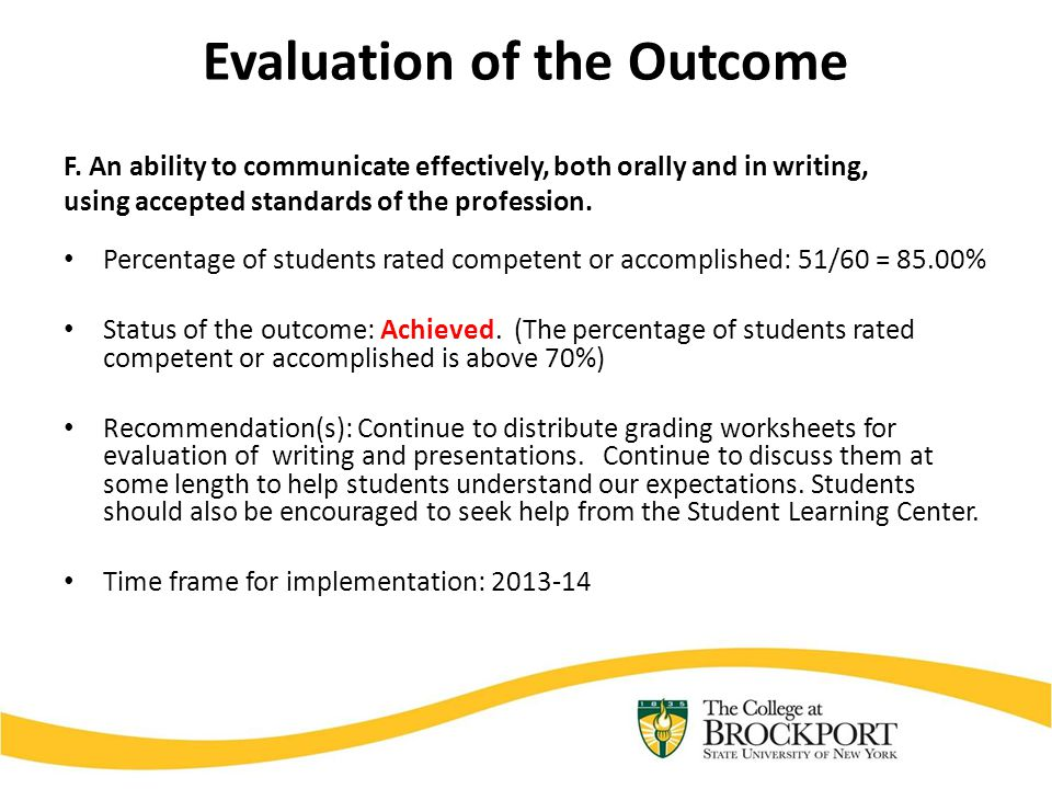 Evaluation of the Outcome F.
