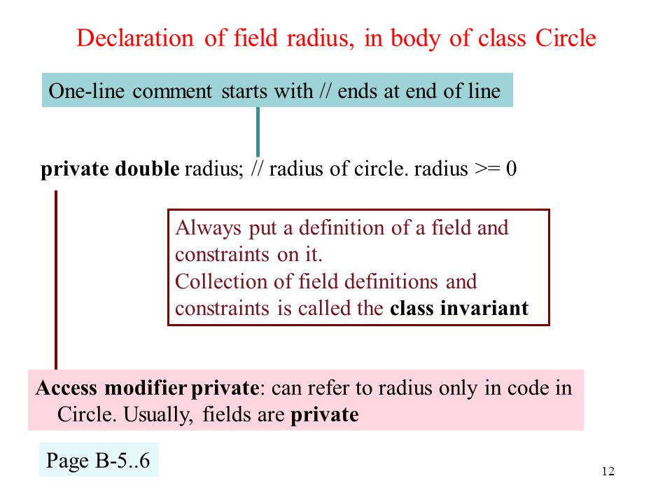 Access modifier private: can refer to radius only in code in Circle.